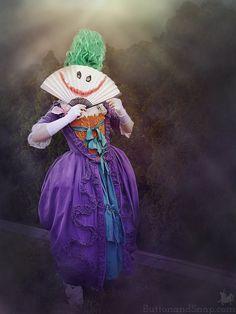 Genderswapped rococo Joker cosplay - she handmade every piece. See all the… Joker Cosplay, Sewing Blogs, Rococo, Cosplay Ideas, Scene, Photoshoot, Handmade, Hand Made, Photo Shoot