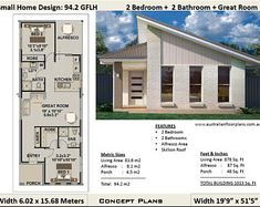 Small house design - Small House Plan 1000 Sq Foot 2 Sq Meters) 2 Bedroom house plan 94 2 GFLH Small Home Granny Flat Concept House Plans – Small house design House Plans For Sale, Tiny House Plans, House Floor Plans, Small House Plans Under 1000 Sq Ft, Small Home Plans, Small Modern House Plans, Small Cottage Homes, Small Cottages, Small Cabins
