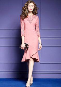 34c06cba192 Plus Size Asymmetrical Women Party Dress. Pink Dress Outfits