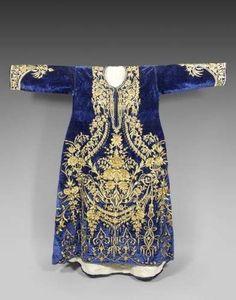 Ottoman blue velvet nineteenth century wedding dress