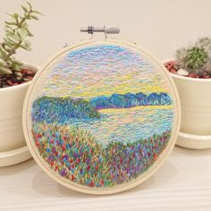Embroidered Landscape Inspired by Claude Monet. Abstract Embroidery, Embroidery Patterns Free, Hand Embroidery Patterns, Machine Embroidery Designs, Contemporary Embroidery, Modern Embroidery, Diy Embroidery, Cross Stitch Embroidery, Hungarian Embroidery