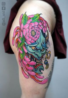 Tattoo Ivan Sergeev - tattoo's photo In the style Oriental, Female, Masks, Flowe Hannya Mask Tattoo, Hanya Tattoo, Japanese Dragon Tattoos, Japanese Tattoo Art, Japanese Drawings, Body Art Tattoos, Small Tattoos, Girl Tattoos, Chinese Tattoo Designs