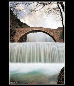 Paliokaria, Thessalia, Greece:  waterfalls and old stone bridge;  by Nik Zach, via Flickr