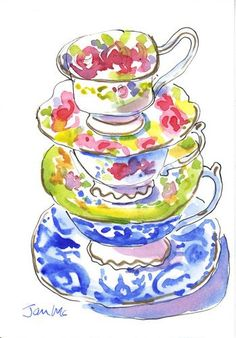 Teacups by Janis McElmurry - pretty and colorful watercolor
