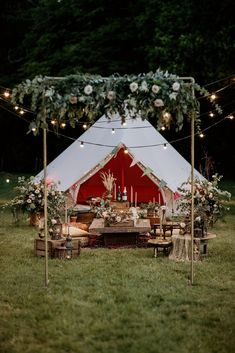 An Evening Wedding Inspiration Shoot with Bell Tents Pagan Wedding, Camp Wedding, Teepee Wedding Ideas, Tipi Wedding Inspiration, Bell Tent Camping, Glamping Weddings, Festival Wedding, Bell Tent Interior Ideas, Teepees