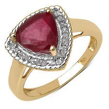 925 Sterling Silver 8.00 mm 2.50 ctw Trillion Ruby White Topaz Ring