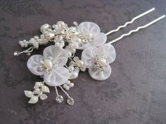 Bridal pearl hair stick silver hair pick by Calicogarden on Etsy, $22.00