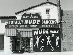 The Bat Cave of totally nude dancers? Yes indeed, the chicks do dig the car. So this is how Bruce Wayne makes his fortune. Space Ghost, Old Photos, Vintage Photos, Vintage Photographs, Vintage Ads, Vintage Signs, Punk, Dark Knight, Retro