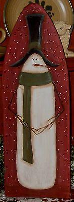 Primitive HP Folk Art Prim Snowmen Winter Stretcher | eBay