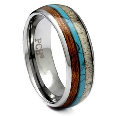 Tungsten Antler Ring With Turquoise and Koa Wood Inlay, 8mm Comfort Fit Wedding Band Deer Antler Wedding Band, Deer Antler Ring, Turquoise Wedding Band, Tungsten Carbide Wedding Bands, Wood Rings, Antlers, Unique Rings, Periodic Table, Lost