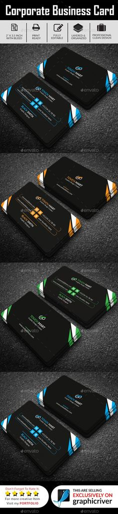 Simple Business Card (Dark Version) - Business Cards Print Templates