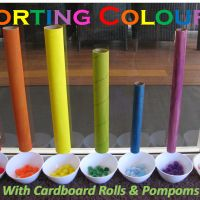What a fantastic idea!!! <3   Sorting Colors with Cardboard Rolls