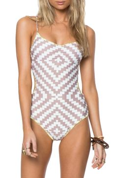 Geometric mosaic print one-piece swimsuit