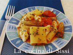 PACCHERI CON ORATA E CARCIOFI http://blog.giallozafferano.it/cucinasissi/paccheri-con-orata-carciofi/