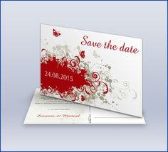 Save The Date Karte 'Vintage Rot'