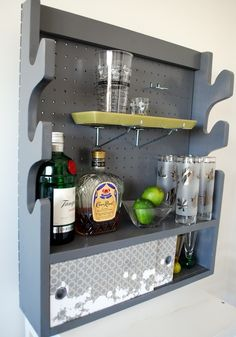 Vintage Gun Rack turned chic bar, closet, craft room organizer, kitchen storage, laundry room caddy, etc...