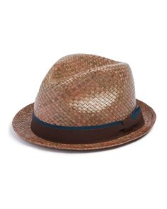 Paul Smith Bovens Straw Hat  | Straw | Made in Italy | Woven straw design  | Two-toned ribbon wrapped around outside exterior | Web ID:1613519
