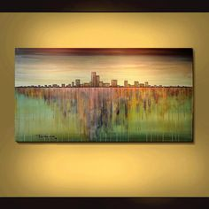MODERN ABSTRACT original 24x48 (60cm X 120cm) ready to hang cityscape painting. No frame needed for this original large one of a kind art work by ARTIST OF THE YEAR NOMINEE Thomas John. The thick canvas edges are painted to match the art work.