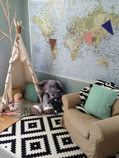 A day in the life of Morrison.  Kids teepee  World map  Baby room  Ikea rug  Instagram - @kristin_darling