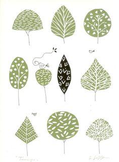 Spring Trees Linocut Mounted - Green Woodland -Treescape - Bird of Peace - Soft Green Art, Hand Pulled Original Print, Hand Painted Details Doodle Drawing, Doodle Art, Art Vert, Paint Paint, Spring Tree, Tree Illustration, Green Art, Linocut Prints, Zentangle