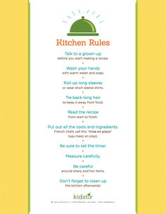 "Is your little one just getting started with cooking?  Here are some great ""rules"" to keep everyone having fun but safe."