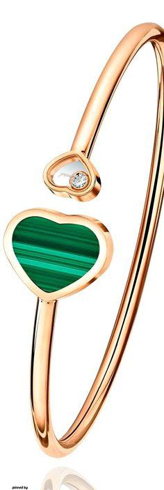 CHOPARD Happy Hearts malachite and diamond bangle Modern Jewelry, Luxury Jewelry, Fine Jewelry, James Jewelry, Diamond Bracelets, Bangle Bracelets, Bangles, Bracelet Cartier, Sea Glass Jewelry