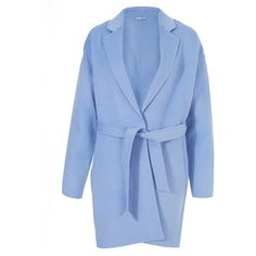 2nd Day Light Blue Duster Coat (£380) ❤ liked on Polyvore featuring outerwear, coats, light blue wool coat, lapel coat, waist belt, blue waist belt and woolen coat