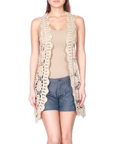 Hand Crochet Open Vest