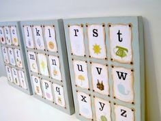 """Alphabet Walls for a Nursery or Playroom  Decorating a nursery is one of the most fun rooms to decorate in my opinion! I've done two very different nurseries over the years in my own home. My biggest dilemma was always the decor. You want it to be """"baby"""", but not TOO """"baby""""! So here are a few ways to display your ABC's on a focal wall! gymbobracelets"""