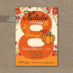 8th Birthday Invitation – Pumpkin Birthday Invitation