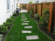 I like the idea of pavers amidst grass going through the side yard Paved Backyard Ideas, Dog Backyard, Small Backyard Landscaping, Landscaping Ideas, Modern Backyard, Walkway Ideas, Inexpensive Backyard Ideas, Backyard Designs, Landscaping Software