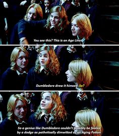 Hermione, Fred and George