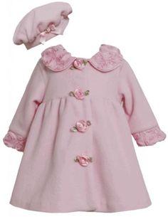 BONNIE JEAN® Toddler Girl 3T Pink Metallic Plaid Dress /& Faux Fur Shrug NWT