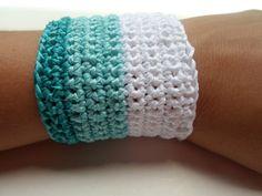 White, teal crochet cuff  bracelet Summer textile jewelry