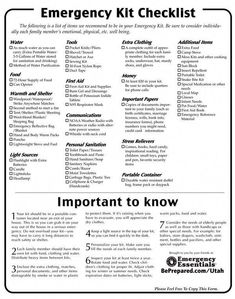 Emergency Checklist - Emergency Essentials-- good to know/plan for, just in case Doomsday Prepping, Survival Prepping, Survival Gear, Survival Skills, Survival Quotes, Survival Hacks, Survival Stuff, Survival Shelter, Outdoor Survival