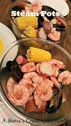 yum Seafood Steam Pot Recipe ~ A Mama's Corner of the World Shellfish Recipes, Seafood Recipes, Seafood Meals, Restaurant Recipes, Recipe Ideas, Steam Seafood, Recipes Using Fish, Crockpot Recipes, Kitchens