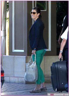 Jessica Biel—Blazer, Green Skinnies + Cheetah Loafers.