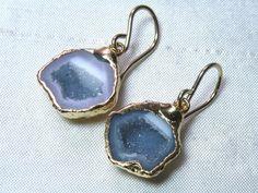 Gray Half Geode Agate Earrings 24K Gold by elizabethlydonstudio, $79.00