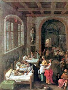 """Santa Isabel de Hungría atendiendo a los enfermos (""""Saint Elizabeth tending the sick""""). Adam Elsheimer. 1597. Localización: Wellcome Institute of the History of Medicine (Londres). https://painthealth.wordpress.com/2016/03/14/santa-isabel-de-hungria-atendiendo-a-los-enfermos/"""