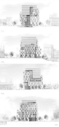 Elevations of the John & Frances Angelos Law Center. Three distinct facade types clad the building's exterior based on program specificities: the office/classroom facade, the library facade, and the atrium facade. - Photo Credit: Behnisch Architekten
