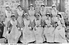 WA nurses who served in the Boer War, 1900. Left to right (back row) are: Eliza Speers, Annabella Emmics, Suzannah Armstrong, Elizabeth Amelia Bole, L.E. Rogers. Front row are: Una Techow (sometimes listed as Tchan), L.A. Naylor, Mary Ann Nicolay, Miriam Plover, B. (Elizabeth) Milne.