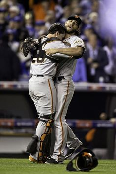 San Francisco Giants' Madison Bumgarner and Buster Posey celebrate after Game 7 of the World Series at Kauffman Stadium on Wednesday, Oct. 29, 2014 in Kansas City, Mo. Photo: Scott Strazzante, The Chronicle