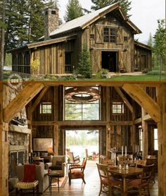 Great if you have a house party (barn renovation) Cabin Homes, Log Homes, Tiny Homes, Style At Home, Barn Living, Living Room, Country Living, Barn Renovation, Pole Barn Homes