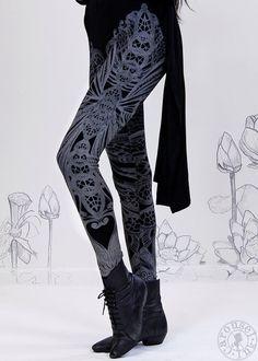 Filigree Art Nouveau Leggings by Carousel Ink -  BLACK Womens Legging - Printed Tights