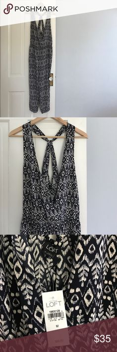 Loft printed jumpsuit NWT Darling jumpsuit that makes getting dressed an easy decision! It features an empire waist and back pockets. It is a breathable lightweight material- perfect for warner temps! LOFT Other
