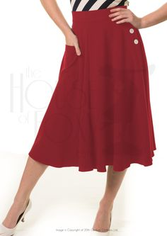 Annnnddd you could totally put a hidden pocket where it buttons.  1940s Style Whirlaway Skirt in Red