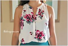 Saw this lovely floral blouse posted - I really like the deep fuschia color with the cream background.  I would not have thought to pair it with the teal, but it goes wonderfully.