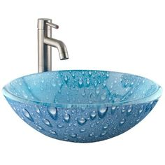 Amazing 16 Inch Modern Cobalt Bright Blue Glass Bathroom Vessel Sink Pny  Intended For Blue Glass Bathroom Sink Modern