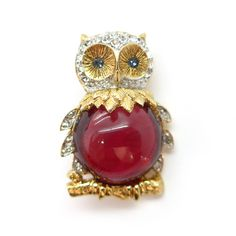 Vintage Jelly Belly Pink Glass Gold Tone Rhinestone Owl Brooch   Clarice…