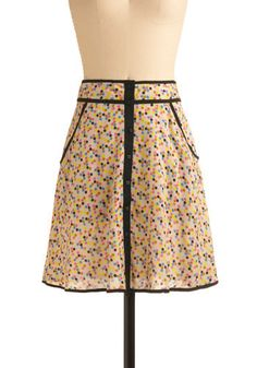 When the Living's Breezy Skirt - Cream, Multi, Yellow, Blue, Pink, Tan / Cream, Black, Polka Dots, Buttons, Pockets, Trim, Casual, A-line, Spring, Summer, Mid-length